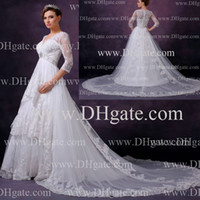 Wholesale 2013 New Long Sleeves Wedding Dresses Sheer V Neck Layered Skirt Cathedral Train Long Sleeved Wedding Gowns Buy get one free Tiara