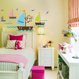tatuajes de monkey pared cartoon extrable y barcos engomadas decorativas de la sala de estar dormitorio para nios sala de juegos para nursery