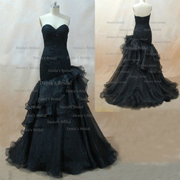 Black Wedding Dresses Freida Mermaid Sweetheart Beaded Embroidery Tulle Organza Bridal Gown With Free Tiara