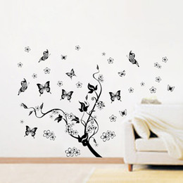 Free Shipping Flowers and Black Butterflies Vine Decals, Art Vinyl Wall Decor Sticker for Living room