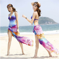 Wholesale New Arrival Women Chiffon Colorful HOBO Cover UP Sarong Skirt Dress Scarf Swimwear Beachwear