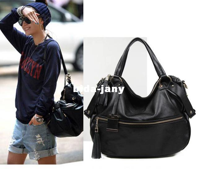 Cool Women Bags Black Soft Genuine Leather Hobos First Layer ...