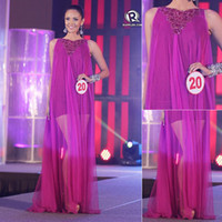 Wholesale 2013 Pageant Dresses Miss World Winner Megan Young Philippines Purple Bateau Emboridery Floor Length Tulle Prom Bridal Dress Gown