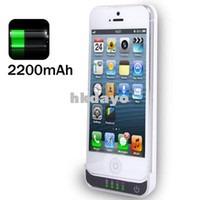 For Apple iPhone Dock Chargers  2200mAh External Rechargeable Backup Battery Charger Case For iPhone 5 iPhone 5S Phone Power Pack Cover Cases For iPhone5 5S
