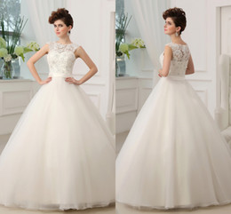 Wholesale 2014 Cheap Vintage Wedding Dresses Colorful Beads Applique Tulle Sweep Train Ivory Elegant Bridal Dress Gowns for Wedding Bride Custom Made
