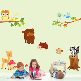 Animals playing in wild nature, cartoon wall stickers for nursery kids Room