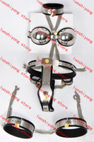 Wholesale 1 set Female Adjustable T type steel chastity belt Thigh Cuff Stainless steel bra handcuffs collar