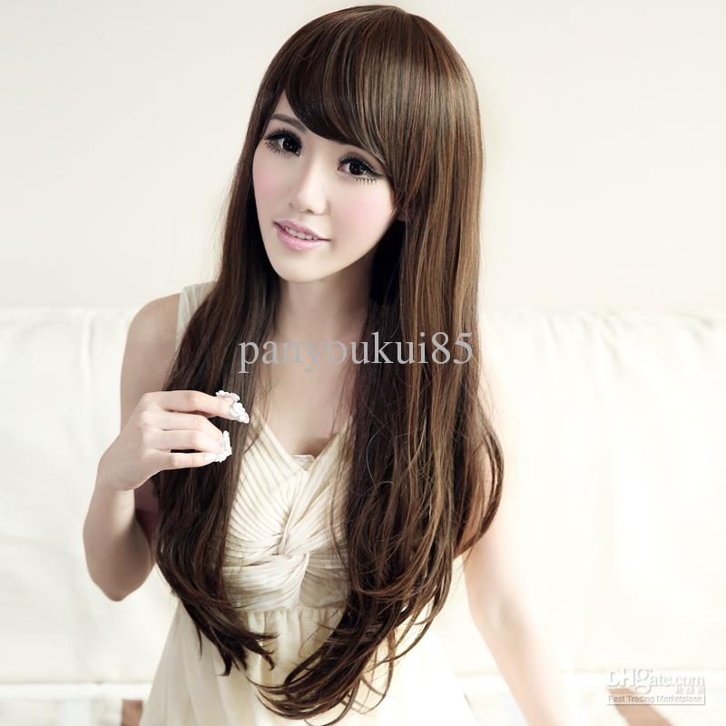 New Korean Style Ladies Hair Wig Charming 75cm Long Fluffy