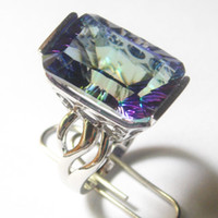 Wholesale mystic rainbow jewelry ring light blue colour stamped