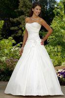 Wholesale Custom Made sexy modest A lline strapless court train satin beaded corset Wedding Dresses gowns
