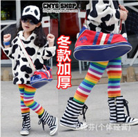2-7T Girl Spring / Autumn girls warm leggings children colorful stripe thicken pants tight pants kids popular winter trousers winter clothing gmy