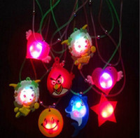 Wholesale 10pcs Candy Colored Cartoon Plastic Led Flash Necklaces Luminous Light Pendants Creative Colorful Children Party Pendant Toys Gifts