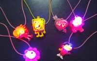 Wholesale 500pcs Candy Colored Cartoon Plastic Led Flash Necklaces Luminous Light Pendants Creative Colorful Children Party Pendant Toys Gifts