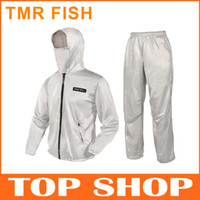 Wholesale TMR FISH Mens Long Sleeve Fishing Clothes Hat M XL Silver UV Stop Mesh Sun proof White Polyester Fishing Clothing