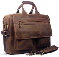 Wholesale amp Retail Vintage Men s Brown Full Grain Bull Real Leather Messenger Bag Shoulder Bag Tote travel Bag quot quot laptop Briefcase M056