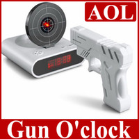 Wholesale Gun o clock alarm clock with light target essential condition with white collar sleepyhead shooting Christmas gift