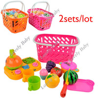 Wholesale 2sets Children Baby Kids kitchen toys OF Fruit In Basket Set Cooking Toys