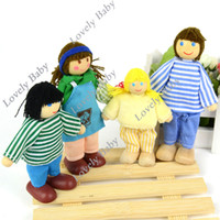 Boys Birth-12 months PVC Educational Story-telling Toy For Children New 4Pcs kids Happy Family Wooden Toys Jointed Doll Drop shipping 10314