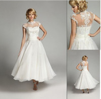 Wholesale Elegant High Collar Tea length Waist bridal dress lace Empire wedding dresses