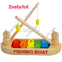 Wholesale HOTSALE sets Wooden Fishing Boat Magnetic Rods amp Fish Baby Toy