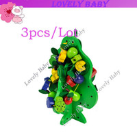 Wholesale 3pcs stringing beads game building blocks wooden educational toys Green Fruit Tree kids children toys