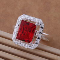 cz gems - HOT Sell sterling Silver fashion charm Beautiful Cute pretty Blue red green CZ Crystal gem lovely ring jewelry AR345
