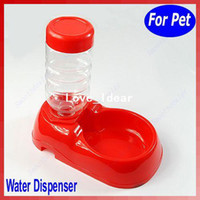 Dogs Feeding & Watering Supplies 06D1545 Pet Dog Cat Automatic Water Dispenser Food Dish Bowl Feeder Red New Free Shipping