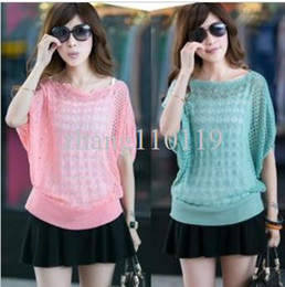 2015 Hollow sweater Summer and autumn ladies bat sleeve sun protection clothing air-conditioned plus size sweater