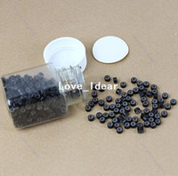 Wholesale Set Silicon Micro Link Ring Beads Human Hair Extension Coffee Black