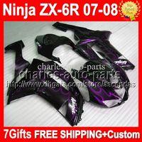 7Gifts + Free personalizado para KAWASAKI NINJA ZX-6R 2007-2008 roxo preto 10Q194 ZX 6R ZX6R ZX636 ZX-636 07 08 2007 2008 chamas roxas Carenagens