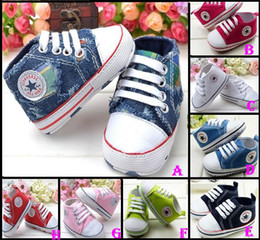 Wholesale 30 off STYLE Blue denim baby shoes Lace pentagram pattern toddler shoes months baby wear cheap kid shoes pairs Zy