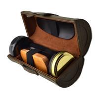 Wholesale outdoor travel Shoe Shine Care Wooden Polish bursh Kit Cleanning tool HL0302