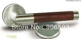 Wholesale 6pairs Modern stainless steel brown wooden tube door handle door lock lever door handle lock