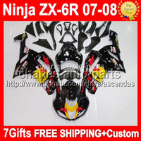Wholesale 7gifts Bodywork For KAWASAKI ZX6R ZX R NEW Black NINJA Q95 Free customized ZX R black yellow ZX636 Fairing