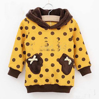 Girl Spring / Autumn  Long Sleeve Coat Children Clothing Girls Cute Yellow Hoodie Fashion Polka Dot Tops Kids Sweatshirts Casual Tops Child Clothes hjkl