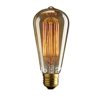 Wholesale Incandescent Bulbs Antique Vintage Edison light Bulb E27 W radiolight ST64 Squirrel cage Tungsten
