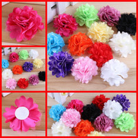 Wholesale Hot Mixed Colors Chiffon Flowers Of Baby Headband Hair Clip Girls Flower Headband Hair Accessory Handmade Satin Fabric Flower