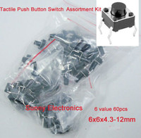 Wholesale New Tactile Push Button Switch Momentary Tact Assortment Kit value pin x6x4 mm