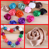 Wholesale Hot Mixed Colors Rose Flowers Baby Flower Headbands Satin Rolled Rosettes Ribbon Rose Fabric Flower Hair Acessories