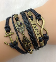 Wholesale Infinity Faith Anchor and Owls Charm Bracelet in Antique Bronze Wax Cords Leather Braid Bracelet Best Chosen Gift Jewelry