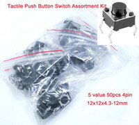 China (Mainland) 12V DC 50 mA 5 value 50pcs 4pin 12x12x4.3-12mm Tactile Push Button Switch, Momentary Tact Switch Assortment Kit