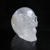 Wholesale 5 quot Natural Clear Quartz Rock Skull Carving Realistic Crystal Healing
