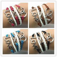 Wholesale Love bracelet infinity bracelet heart to heart bracelet leather rope bracelet bangle weave with extension chain colors