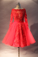 Wholesale 2013 fall a line bateau neckline knee length Long Sleeves Red lace fashion designer cocktail Dresses China custom make Party dresses