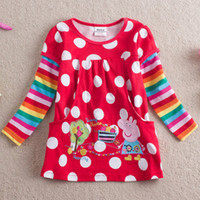 Girl Spring / Autumn  4 color choose New arrival Hot Peppa pig Nova kids wear polka dot overall printed baby girls rainbow long sleeve tunic tops shirts dress