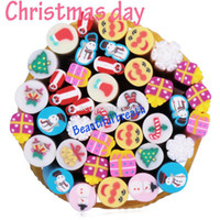Decal 2D Metal christmas beautyChristmas day style 100pcs Nail Art Canes fimo 3D Nail Stickers Decoration Polymer Clay Fruit shaped freeShipping