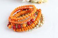 Bohemian Women's Gift Fashion Bracelet 7pcs Set Multilayer Bracelet WOOD Beads Rhinestone Bracelets