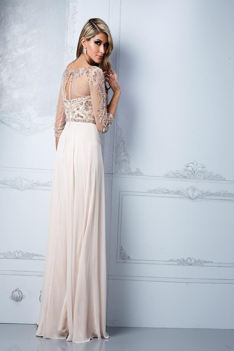 High neck chiffon evening dress