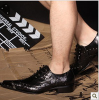 Wholesale The iron head leather shoes men s business casual shoes personality stage star shoes