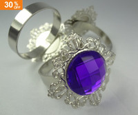 Wholesale 30 OFF Purple Gem Napkin Rings Wedding Table Party Bridal Shower Favour Favor Decor Supplies